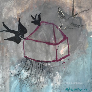 maison-déracinée-oiseaux-racine-home-root-uprooted-grey-black-gris-noir-sophielormeau-lormeau-artiste-peinture-french-artist-art-tableau-toile-colorful-naif-naiv-contemporain-contemporary-
