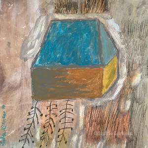 bleu-blue-ocre-ocher-noir-racine-home-root-uprooted-sophielormeau-lormeau-artiste-peinture-french-artist-art-tableau-toile-colorful-naif-naiv-contemporain-contemporary