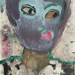 homme-man-rose-regard-flower-bleu-blue-miracle-portrait-face-visage-sophielormeau-lormeau-artiste-peinture-french-artist-art-tableau-paper-magazine-colorful-naif-naiv-contemporain-contemporary