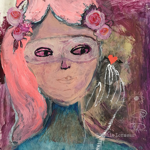 coeur-cœur-heart-amour-amoureux-hand-mains-in-love-cheveux-pink-rose-portrait-femme-ladysophielormeau-lormeau-artiste-peinture-french-artist-art-tableau-paper-magazine-colorful-naif-naiv-mask